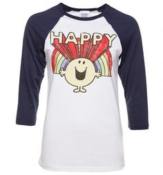 There\'s very little a massive smile won\'t fix, which is why we love this awesome Mr Happy t-shirt. Paying homage the brightest Hargreaves character, this retro baseball tee will make a great addition to any Mr Men fan\'s wardrobe.
