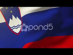 Slovenia Flag Waving In The Wind. Looping Sun Rises Style. Animation Loop