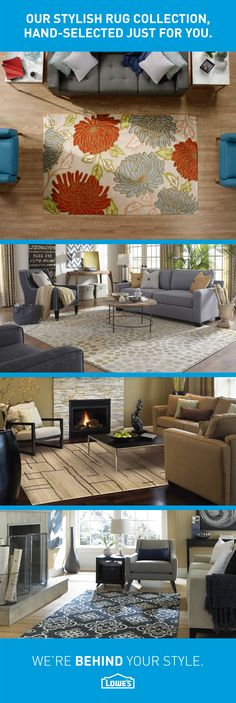 A stylish area rug is the fastest way to create cohesion in your room. The Lowe's Style Team travels the world, hand-selecting rugs inspired by the freshest trends to keep your home contemporary and cozy. My Living Room, Home And Living, Living Room Decor, House Goals, My Dream Home, Home Projects, Home Remodeling, Diy Home Decor, Family Room