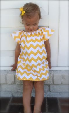 M 2yr. pics? riley blake yellow chevron flutter sleeve dress. $27.00, via Etsy.