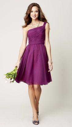 A one-shoulder, knee-length bridesmaid dress in wine. | Kennedy Blue Bridesmaid Dress Megan | #purple #short