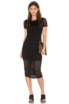 KENDALL + KYLIE Laser Cut Out Midi Dress in Black | REVOLVE