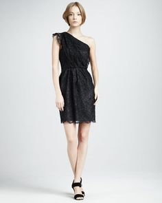 Mara One-Shoulder Lace Dress by Shoshanna at Neiman Marcus.