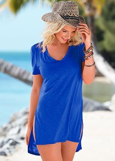 Your beach cover-up look now looks even MORE effortless! Venus cozy comfort dress.