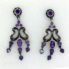 Purple Amethyst  Marcasite Dangle Sterling Silver Earrings Gothic Antiqued