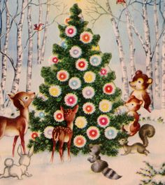 Vintage  Woodland Animals Christmas