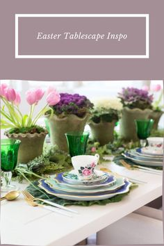 Easter Tablescape Inspo. Easter At Home. At Home Easter. Easter Tablescapes. Easter Decor. Easter Table Settings. Easter Table Decor. Easter Table Settings, Easter Table Decorations, Easter Decor, Cabbage Plant, Ornamental Kale, Tulip Table, Paper Butterflies, Yellow Tulips, Tablescapes