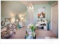 The color of the walls, I am in love with! :) Its like a really light teal/robins egg blue! I love it! Its perfect for an office, with a touch of some coral! LOVE!
