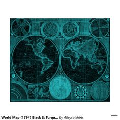 World Map (1794) Black & Turquoise Poster