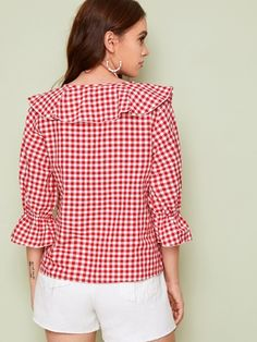 Red V Neck Ruffle Trim Gingham Spring Casual Blouse Top Women Autumn Flounce Sleeve Cute Ladies Blouses And Tops Ruffle Fabric, Ruffle Trim, Girls Fashion Clothes, Fashion Outfits, Crochet Shoes Pattern, Plus Size Fashion Blog, Preppy Outfits, Look Fashion, Types Of Sleeves