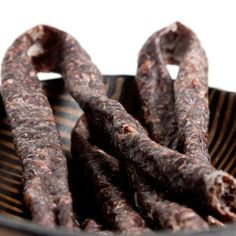 This is Spicy Droewors - Dry Sausage. This has more of a spicy flavour compared to the Traditional and Karoo dry sausage. It is all beef and ready to enjoy!