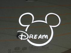 Mickey Dream car decal sold by Crafting Pixie. Shop more products from Crafting Pixie on Storenvy, the home of independent small businesses all over the world. Custom Car Decals, Custom Cars, Mickey Mouse Car, Mickey Font, Dream Cars, Pixie, Sayings, Cricut Ideas, Disney