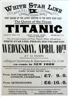 'White Star Line - R. Titanic - First Sailing From New York' - Beautiful Glossy Art Print Taken From A Rare Vintage Travel Poster Titanic History, Rms Titanic, Southampton, Funny Ice Breakers, Yacht Party, Pub, Vintage Travel Posters, Did You Know, Line