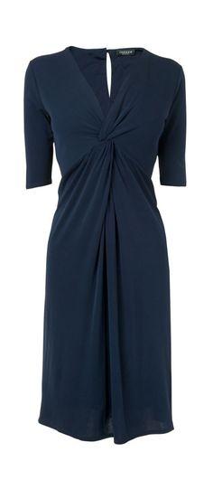 Knot Front Silk Jersey Dress