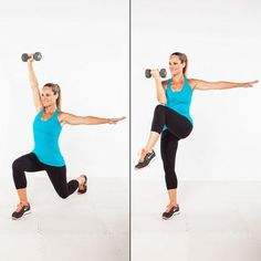 The core control rear lunge--work your arms, shoulders, legs, glutes, and core all at once!