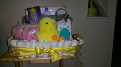 Duck baby diaper gift basket
