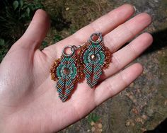 Ethnic micro macrame earrings - Green Sage Gold