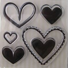 "We R Memory Keepers ""Hearts"" Love Struck Clear Stamps, 5 Clear Acrylic Scrapbooking Stamps 3""x3"" by SimplyCraftSupplies on Etsy"