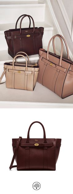 76174c8ea1 Shop the Small Zipped Bayswater in Oxblood Natural Grain Leather at Mulberry.com.  The