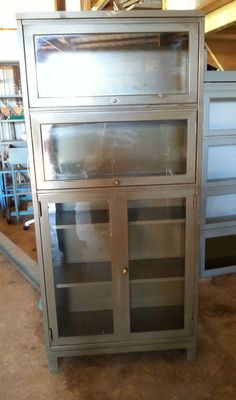 6ft Glass Front Display Cabinet; USA; made by Art Metal Inc.; Original; Art Deco