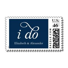 "Personalized wedding postage - ""I do"" with your names, in navy"