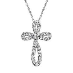 Created White Sapphire Cross Pendant | Shop REEDS Jewelers