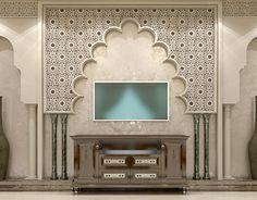 Salon in Andalusian Style Modern Villa Design, Spirit, Interior Design, Mirror, Furniture, Home Decor, Style, Living Room, Nest Design