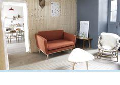 Canapé design années 50 chêne massif et tissu laine rouille