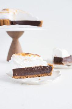 S'mores tart - brown butter graham cracker crust, silky chocolate ganache filling, and toasty vanilla bean marshmallow