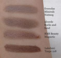 Everyday Minerals - Nutmeg, Alverde - Rocks and Sands, RMS - Beauty Magnetic, Lakshmi - Taupe 128