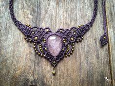 Macrame boho chic necklace big pink quartz rose - Custom order - tiara bohemian elven style jewelry by Mariposa micro macramé QR1 by creationsmariposa on Etsy https://www.etsy.com/listing/211266535/macrame-boho-chic-necklace-big-pink