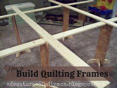 Adventures of a DIY Mom - Build Your Own Quilting Frames- OK this gives me an idea for a frame to layer quilts that will keep me off the floor. Diy Quilting Frame, Quilting Tools, Quilting Tutorials, Quilting Projects, Quilting Designs, Sewing Projects, Quilting Ideas, Quilt Patterns, Sewing Ideas