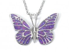 Purple Butterfly Necklace Sterling silver butterfly pendant decorated with Purple pattern. The butterfly is a symbol of embracing changes in ones life