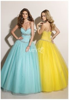 Turquoise / Yellow Ball Gown with Dramatic Beading