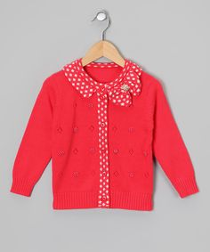 Look what I found on #zulily! Red Polka Dot Bow Cardigan - Toddler & Girls by Sweet Charlotte #zulilyfinds