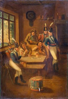 A recruiting party, including infantry and light dragoons, drinking and smoking in a tavern. Oil on panel by A E Eglington, Without conscription. British Soldier, British Army, War Of 1812, Female Soldier, American War, Napoleonic Wars, Online Collections, Camping Life, Historical Clothing