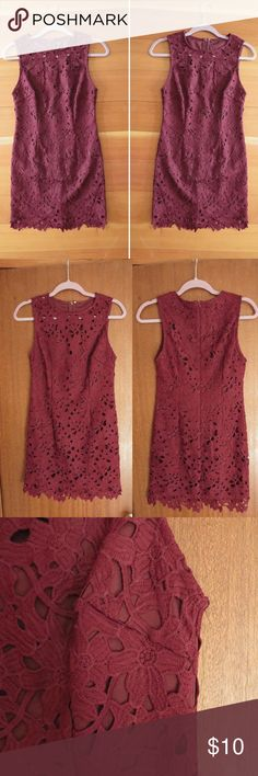 Maroon Crochet Bodycon Dress EUC, worn once. Zips in the back. Perfect for the fall and winter months. Forever 21 Dresses Mini