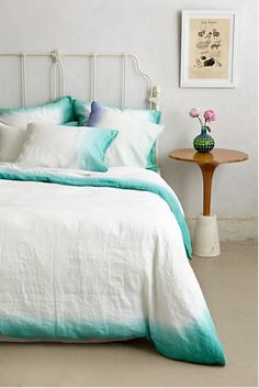 Dip-dyed ombré linen duvet cover and pillowcases in turquoise - Sol Linen Bedding