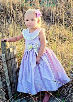 Girls lavender silk dress hand smocked flower girl dress pageant dress