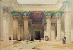 """""""Egypt and Nubia,"""" A painting of the Grand Portico of the Temple of Philae, Nubia. - by David Roberts Ancient Egyptian Architecture, Ancient Egyptian Art, Ancient History, Egyptian Mythology, Egyptian Goddess, Historical Art, Historical Pictures, World Religions, Wall Art Prints"""