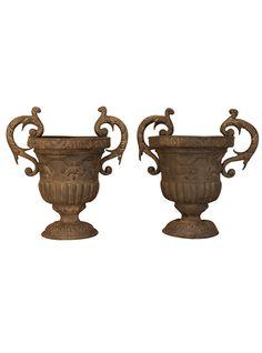 Pair of 18th Century English Lead Urns