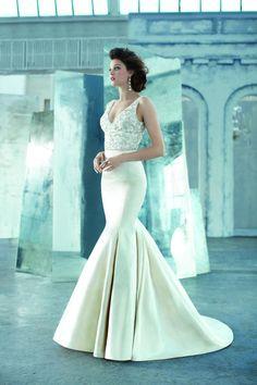 A stunning antiqued silk faced satin glam wedding dress. So gorgeous! {Lazaro}