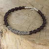 Men's leather and silver bracelet, 'Siam Puzzle'