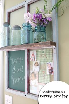 This salvaged window gets a new life with the addition of a barn board shelf and some chalkboard paint to become a sweet family message center. (Adding decorative hooks to the underside of the shelf would make a great place to store your keys!) LOVE