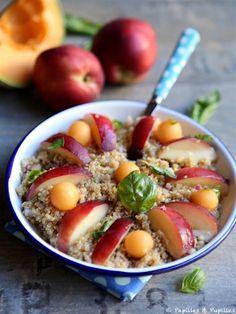 Salade de quinoa, melon, nectarine et basilic