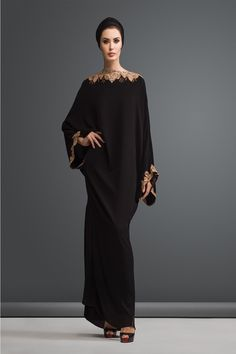 A batwing-sleeved kaftan-cut abaya with a slimmer skirt gives the illusion of a more lithe silhouette while hiding the undesirable lady bits from the rest of the world. Arab Fashion, Islamic Fashion, Muslim Fashion, Modest Fashion, African Fashion, Mode Abaya, Mode Hijab, Abaya Dubai, Arabic Dress