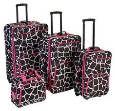 Rockland Luggage 4 Piece Luggage Set, Pink Giraffe, One Size