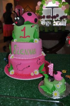 Always remember the tiny cake,for the little one to destroy....lol....sf  Cute pink and green cake from a Ladybug Party #ladybug #partycake