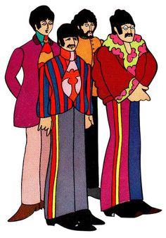 beatles, beatlos, illustration, yellow submarine Les Beatles, Beatles Art, Mode Hippie, Hippie Art, Cultura Pop, Yellow Submarine Art, Comic Cat, We Will Rock You, Chor