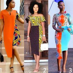 Asymmetrical dresses are so 😍😍😍. Pick your style: 1 2 or Chic 1 - 🔥❤. Chic 2 - in 🔥💛. Chic 3 - Bettinah Tianah in 🔥💙 via African Fashion Ankara, Latest African Fashion Dresses, African Print Fashion, Short African Dresses, African Print Dresses, African Prints, Ankara Dress Styles, Trendy Ankara Styles, African Attire